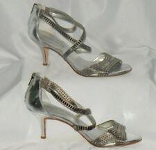 "ANTONIO MELANI Silver Gray Leather Sock Soul 2"" Heel Petite Rhinestones Glass"