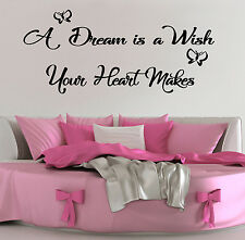 A Dream Is A Wish Your Heart Makes Wall Art Quote Vinyl Decal Sticker Mural
