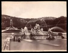 1880-1890s Albumen Print Fountain and Gardens at the Palace of Caserta, Italy