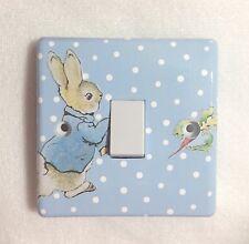 Handmade Decoupaged Beatrix Potter Peter Rabbit Nursery Bedroom Light Switch
