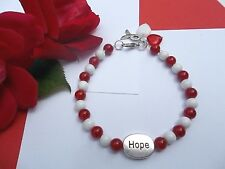 Squamous Cell Carcinoma Cancer Awareness Red/White Beaded Bracelet