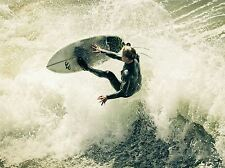 ART PRINT POSTER SPORT PHOTO SURFING SURF SURFER SPRAY WAVE OCEAN SEA LFMP0776
