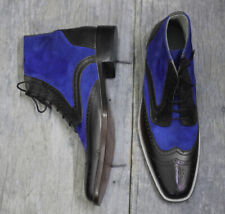 Handmade Black & Blue Wing tip Lace Up Ankle Boots, Men's Leather & Suede Boots