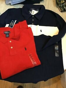 Ralph Lauren Polo Sweater W/ Collar Navy Blue /Red Youth L Boys NWT