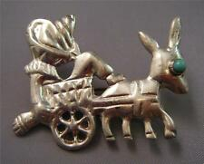 "VTG Mexico Man Burro Donkey Cart Turquoise Sterling Silver Brooch Pin 1.5"" 8.9g"