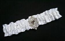 PLUS SIZE Handmade WHITE Wedding Prom GARTER Belt With Sliver Rhinestone Pendant