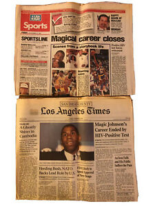 Magic Johnson Retires HIV Lot Of 2 Vintage Newspapers 1991 LA Times USA Today