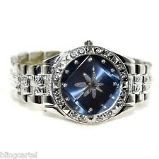 Hip Hop 420 Watch Marijuana Pot Weed Blue Leaf Iced-Out Silver Tone Mens Bling