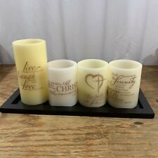 Inspirational LED Candle Set 4 Candles with Tray Battery Operated
