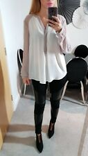 WAREHOUSE BNWT NEW TOP BLOUSE SMART WHITE GREY RRP £40 SIZE 14 42