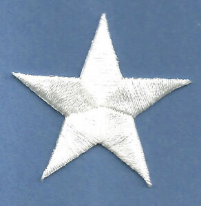 "( ONE DOZEN - 12 ) 7/8""(2cm) WHITE EMBROIDERED STARS IRON ON PATCHES"