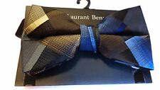 MENS BOW TIE BLACK BLUE BROWN CHECKERED BOWTIE  PRE-TIED BOW WITH CLIP