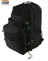 Black Recon Extra Assault Pack 50 Ltr Back Pack Tactical Kit Bag Airsoft Cadet