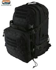 Black Recon Extra Assault Pack 50 Ltr Back Pack Tactical Kit Bag Airsoft Cadet