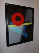 ORIGINAL ABSTRACT OIL PAINTING THE O A RED CIRCLE FLAT BLUE BLACK YELLOW A NEW