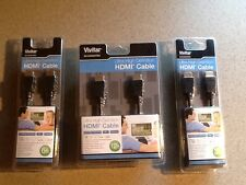 Lot of 3 NEW Vivitar HDMI Cables  3 ft , 6 ft, 12 ft Ultra High Definition