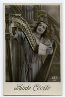 c 1912 Glamour Glamor HARP MUSIC BEAUTY Pretty Woman photo postcard