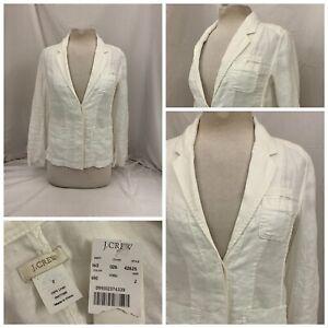 J. Crew Blazer Jacket Sz 2 White 100% Linen 2-Button Waist Length NWT YGI T1-365