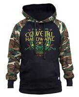 New Cowgirl Hardware Camo/Black Raglan Hoodie Horse Shoe Rodeo Western Barn Ride