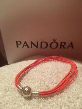 Authentic-Pandora-Silver-ORANGE-Fabric-Multi-String-Bracelet