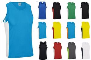 AWDis Cool Contrast Vest Top Gym Running Training Workout Active Sports Wear