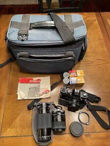 Konica AutoReflex TC 35mm SLR Bundle, 3 lenses, Bag, Manual, & Film. Untested.