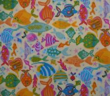 Mermaid Tropical Fish Sand Colourful Fabric Patchwork Quilting Craft FQ or metre