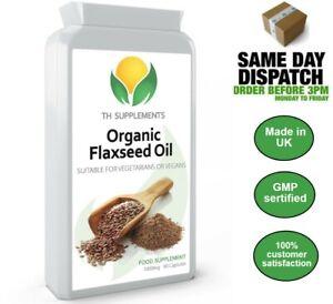 Organic Flaxseed Oil 1000mg 90 Capsules High Omega food supplement