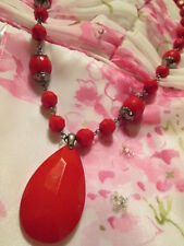 Vintage Cherry Red Lightweight Hard Plastic Dk Silver-tone Bead Necklace Jewelry