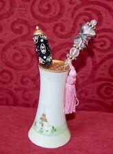 Royal Austria Vintage Floral Hat Pin Holder Pepper shaker? with 2 vintage pins.