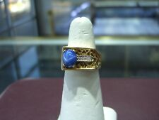 VINTAGE FINE MEN'S STAR SAPPHIRE  DIAMOND YELLOW GOLD NUGGET PINKY RING SIZE 7.5