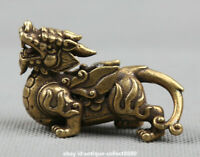 "2.2"" Curio Chinese Bronze Animal Kylin Chi-lin Qilin Pixiu Pi Xiu Beast Statue麒麟"
