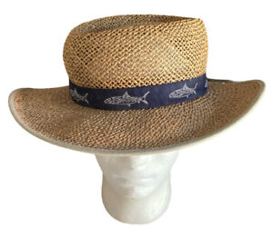 Columbia Sportswear Unisex Seagrass Straw Hat Sz S/M Navy Grosgrain Band Fish