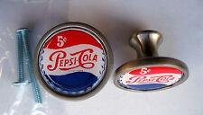 Pepsi Soda Cabinet Knobs, Pepsi-Cola Soda Logo Cabinet Knobs, 5 cent Pepsi Logo