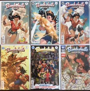 9 DC Bombshells United Comic Lot # 1 3 4 5 6 8 11 15 16 Adam Hughes Dodson NM