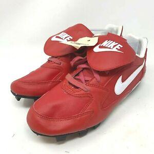 Nike 10 Vtg Baseball Cleats Leather Red Retro 80's Deadstock 941101 115013 610