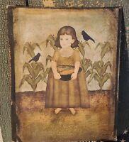 PRIMITIVE ANTIQUE VINTAGE STYLE GIRL PORTRAIT CROWS  PRINT ART CANVAS 8 X 10