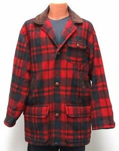 vtg American Male RED TARTAN Wool Coat MED 80s/90s Wood Buttons Suede Collar M