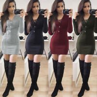 Winter Women Long Sleeve Bodycon Sweater Knitted Cocktail Party Mini Dress Nice