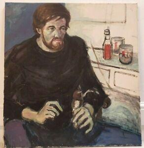 Sonia Handford 1958 portrait oil on canvas man smoking kitchen 71 x 76 cm I4Y280