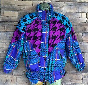 Obermeyer Size 12 Juniors 80's Retro Print Ski Jacket Colorful  1980's