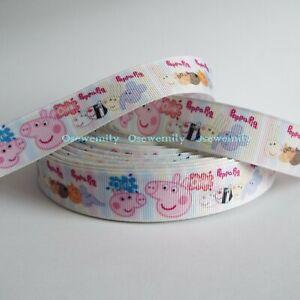 Per Metre - Peppa Pig  22mm  - Printed Grosgrain Ribbon / Cake/ Hair Bow / Craft