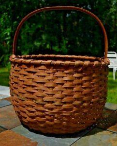 Large Antique Round Woven Split Oak Gathering Basket Bent Wood Handle