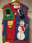 "Eagle's Eye Christmas Sweater vest womens Size ""s""Snowman ugly x-mas cute"