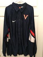 Virginia UVA Cavaliers Basketball Team Issued Nike Button Warmup Jacket 2XL