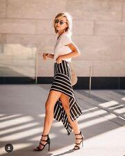 Below Knee Regular Asymmetrical Striped Skirts for Women