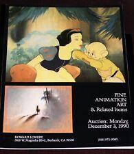 Walt Disney Animation Art Auction Catalog December 1990 Vintage Cels Artifacts