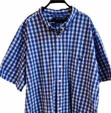 Men's 4XB Ralph Lauren Polo Short Sleeve Button Up Plaid Blue Pony 4XL