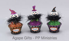 OWI Halloween Decor - LED Light-up Cute Ghost Cupcakes 3pc Set #73087