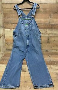 Liberty Blue Denim Jean Bib Overalls Men's Carpenter Size 44 x 30 Hammer Loop